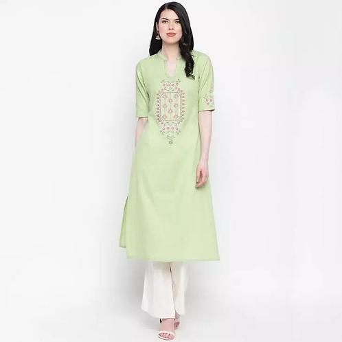 Beautiful Light Green Calf Length Cotton Embroidered Straight Kurti