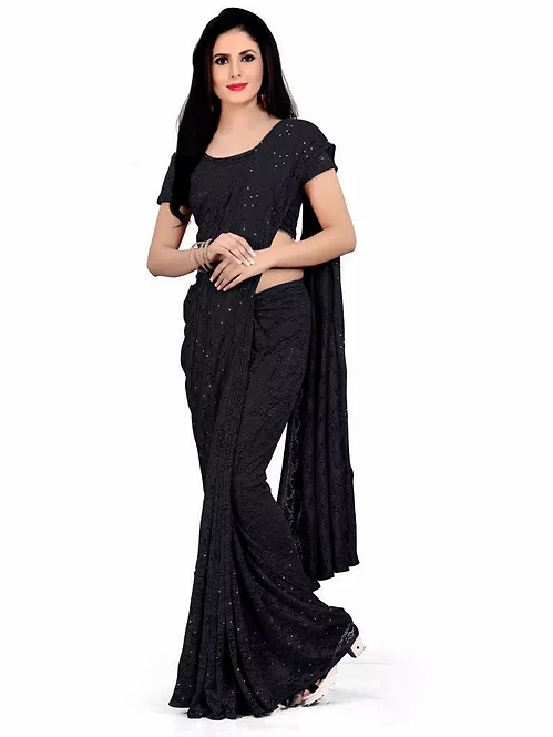 Black net embroidery saree