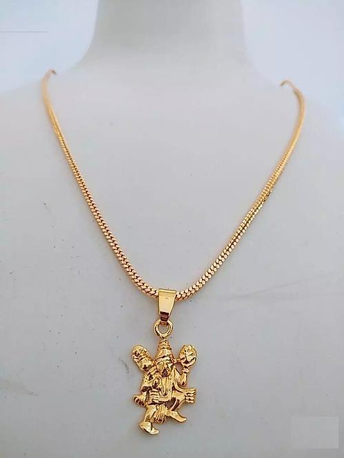 Elegant Gold Plated Hanuman Pendant With Chain