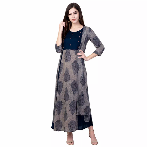 Unique Grey Rayon Printed Ankle Length Kurti