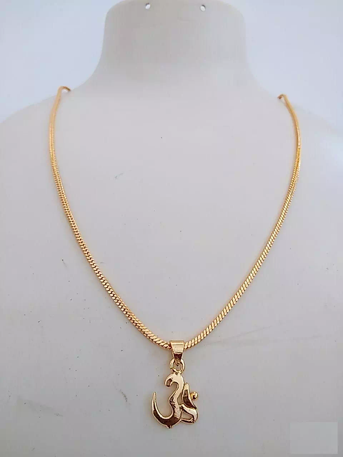 Elegant Gold Plated Om Pendant With Chain