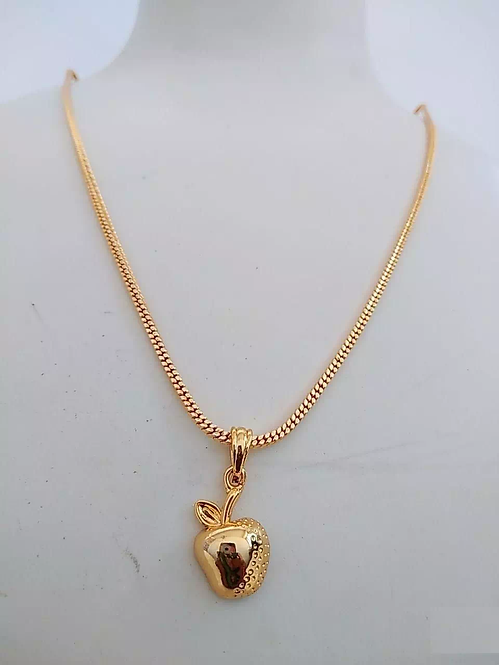 Gold Plated Apple Pendant With Chain
