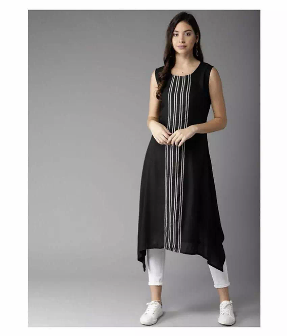 Crepe Striped Calf Length Sleeveless Kurti