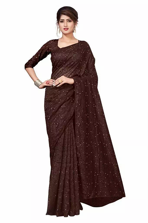 Coffee embroidery saree
