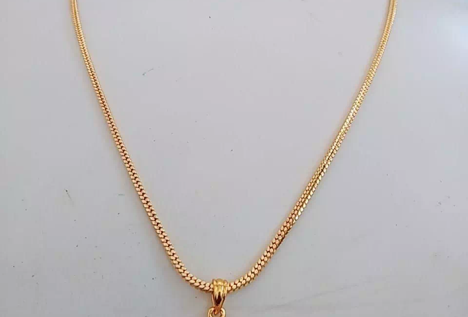 Gold Plated Crystal Pendant With Chain