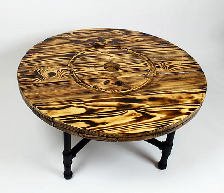Surprising Knotty Nuff Wood Burn Spool Coffee Table Caraccident5 Cool Chair Designs And Ideas Caraccident5Info