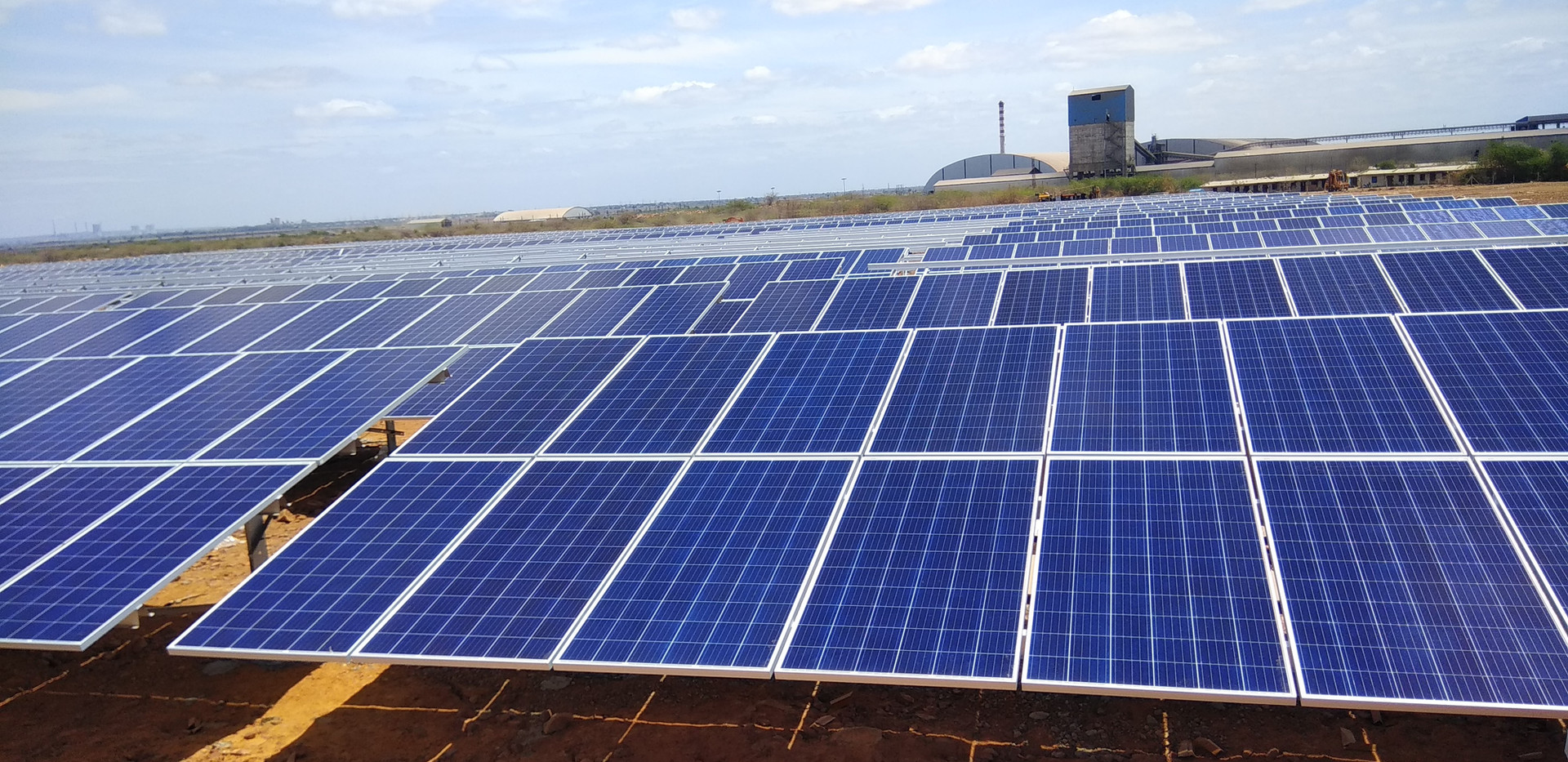 Bharathi Cements, ground mounted installation with RenewSys modules, India