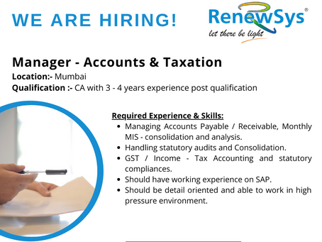 Vacancy - Manager Accounts & Taxation