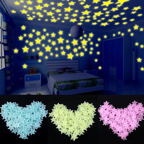 100 Outdoor / Indoor Glow in the Dark Star Stickers