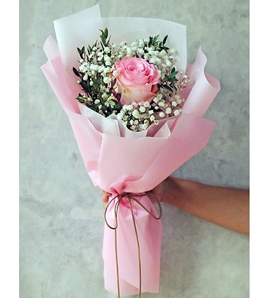 Single Pink Rose Bouquet