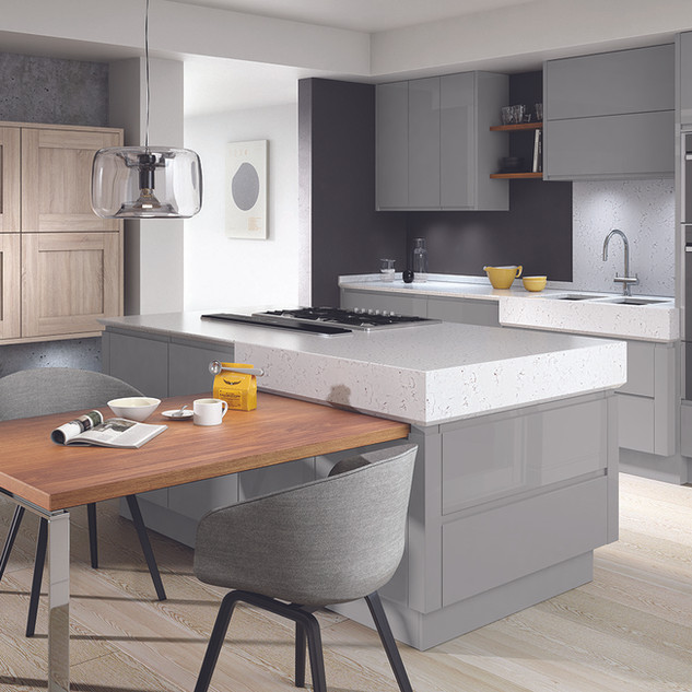 Remo Silver Grey Gloss & Broadoak Rye