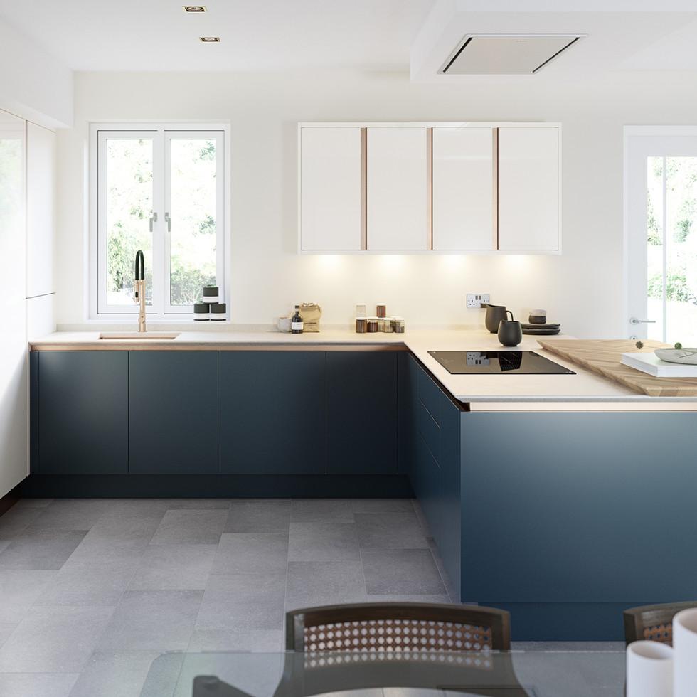 Porter Handleless Hartforth Blue & Gloss Porcelain