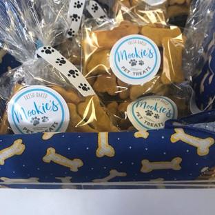 Mookie's Pet Treats in Doggie Bone Box with Paw Print Ribbons