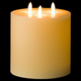 """Luxe Collection 6""""x 6"""" Ivory LED Wax Candle"""