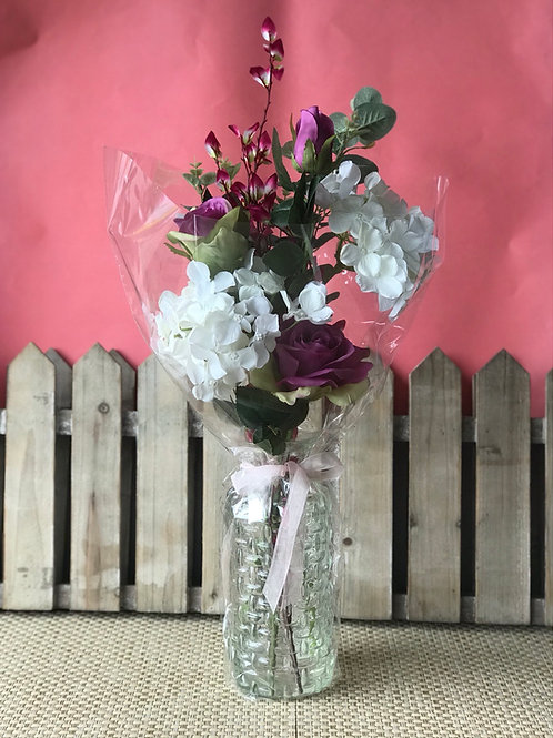 Rose/ Hydrangea - Tall Glass vase