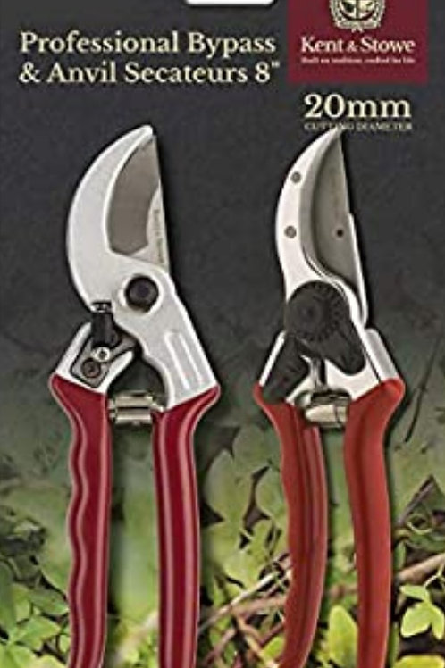Kent & Stowe Bypass & Anvil secateurs 8""