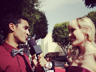 """Interviewing Natasha Beddingfield at """"Disney's The Pirate Fairy"""" red carpet."""