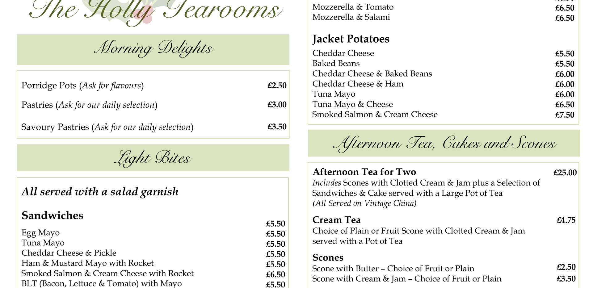 Surrey Hills at The Holly Tearooms Menu