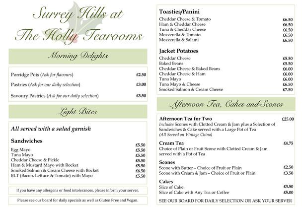 Surrey Hills at The Holly Tearooms Menu