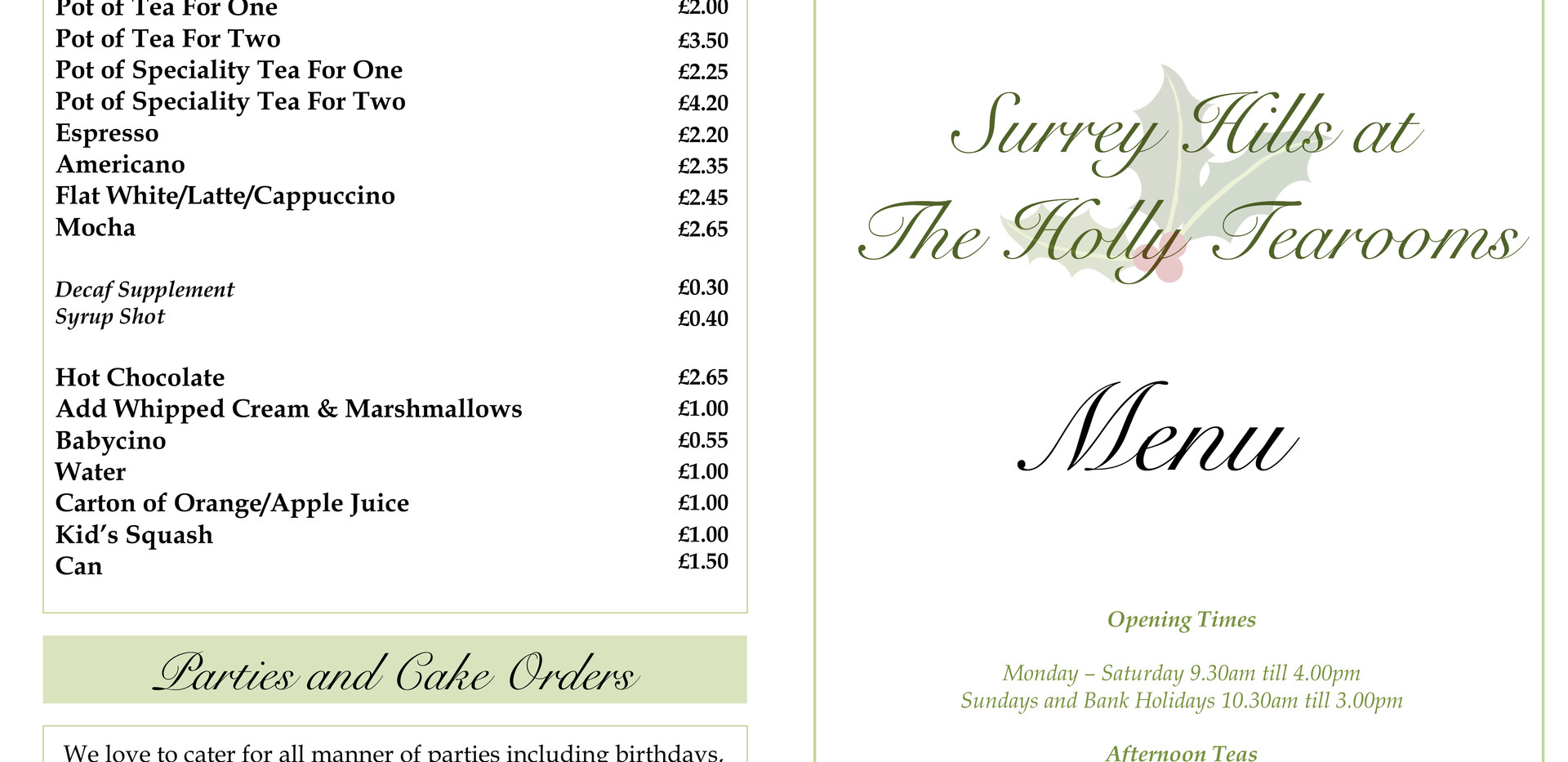 Surrey Hills at The Holly Tearooms Menu.