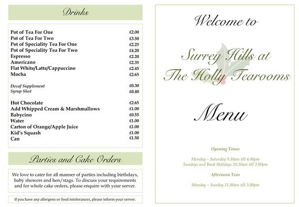 Surrey Hills at The Holly Tearooms Menu.