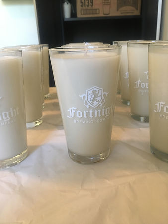 Finished candles in Fortnight Brewing Pint Glasses