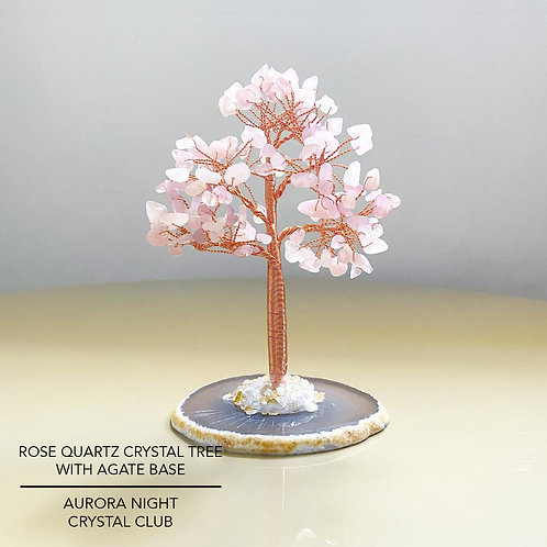 Rose Quartz Crystal Tree With Agate Base
