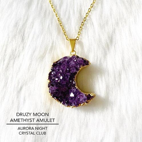 Druzy Moon Amethyst Amulet
