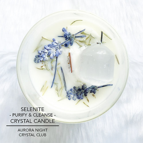 Selenite Crystal Candle