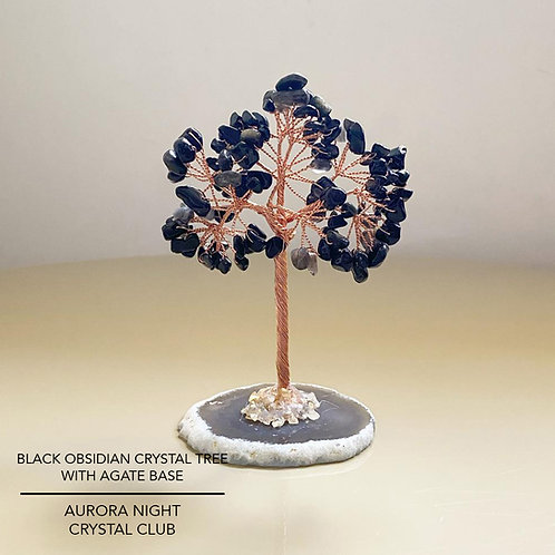 Black Obsidian Crystal Tree With Agate Base
