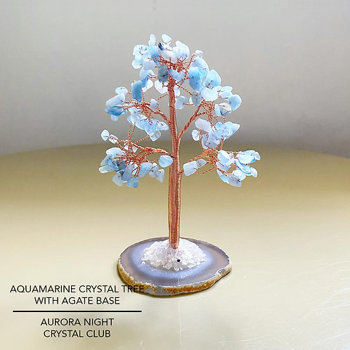 Aquamarine Crystal Tree With Agate Base