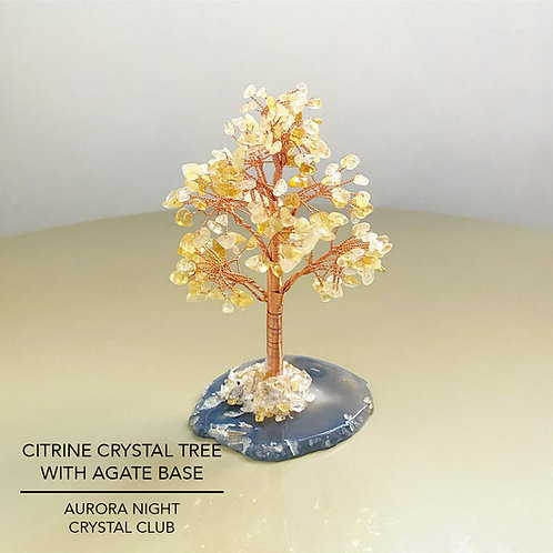 Citrine Crystal Tree With Agate Base