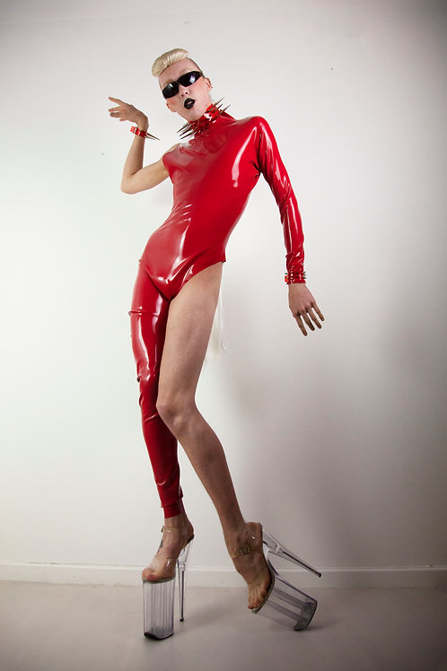 Red asymmetric latex catsuits