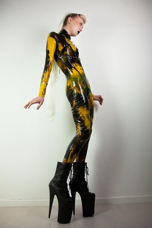 Marble yellow black latex catsuit