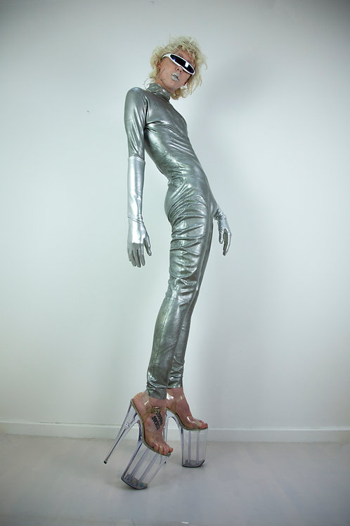 Marble silver latex catsuit