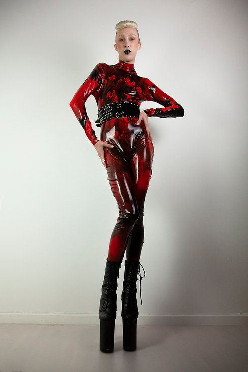 Marble red black latex catsuit