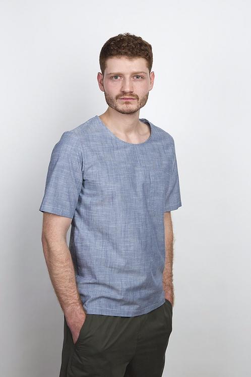 T-SHIRT COUDRE BERLIN, Striped Sky - Cotton/Leinen