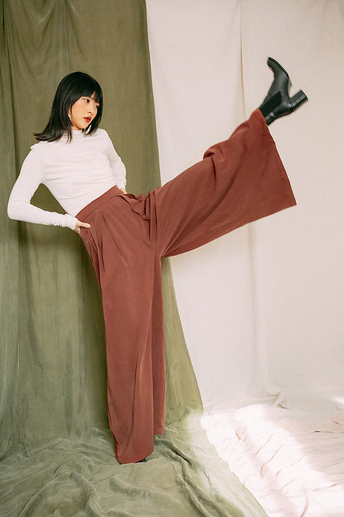 PALAZZO TROUSERS, RUST, COSSAC, TENCEL