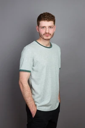 T-SHIRT COUDRE BERLIN, Contrast Collar, granite/moss, 100%Cotton