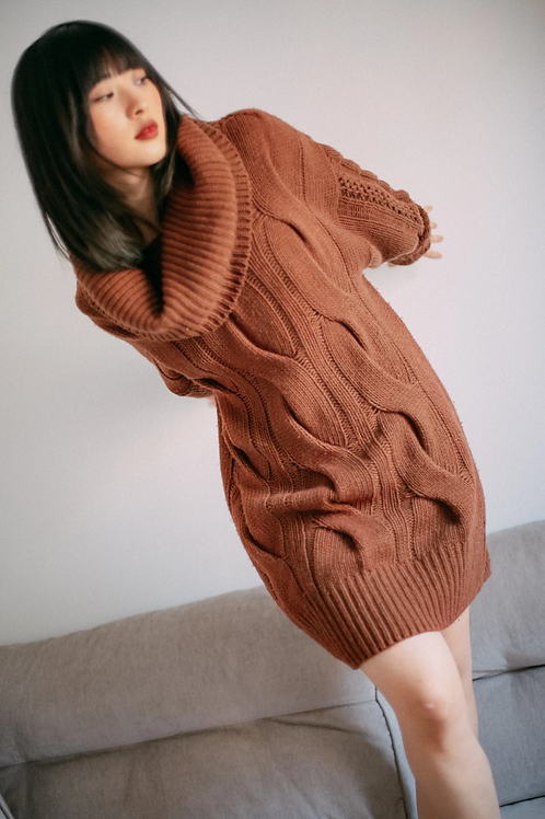 PULLOVER TUNIC, COSSAC, WOLLMIX, RUST