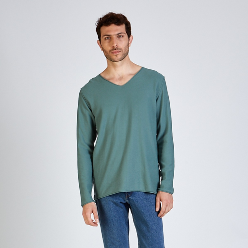 SWEATER ARON   STOFFBRUCH BERLIN, V-Neck, Mint - 100%Organic Cotton
