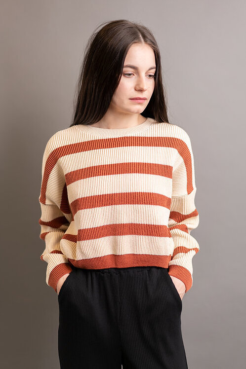 JANA SWEATER, BEIGE/RUST, TABITHA WERMUTH, RECY. COTTON