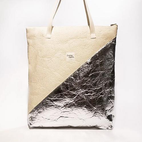 """BAG """"FUTURE"""" NATURAL SILVER, Vegan PINATEX©"""