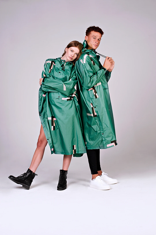 STRAY PIXEL, REGENPONCHO, RAINKISS, 100% Recycled Polyester