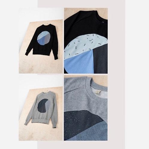 SWEATER UNISEX CIRCLE   PRINTA, schwarz|grau -Cotton