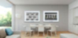 Quadros Geométricos decorando sala de estar amarela.