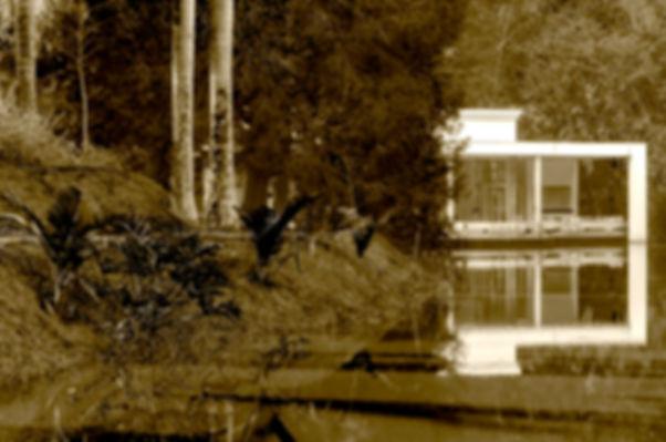 Fotografia fine art de alta resolução,  fotografia de casa branca refletida na água do lago, fotografia em sépia.