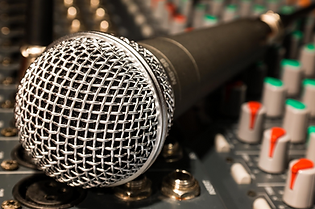 Musicians microphone and sound board
