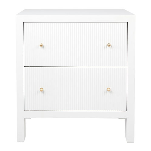 SARAH RIBBED BEDSIDE IN PEARL WHITE