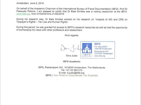Bata Simões finaliza sua pesquisa de Pós-Doutorado na IBFD (Amsterdã)